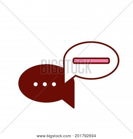 pink and scarlet red sections silhouette with set of circular speech with ellipsis symbol and bar vector illustration