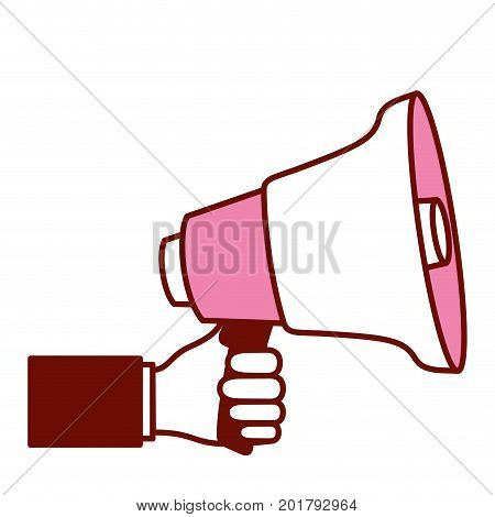 pink and scarlet red sections silhouette of hand holding megaphone vector illustration