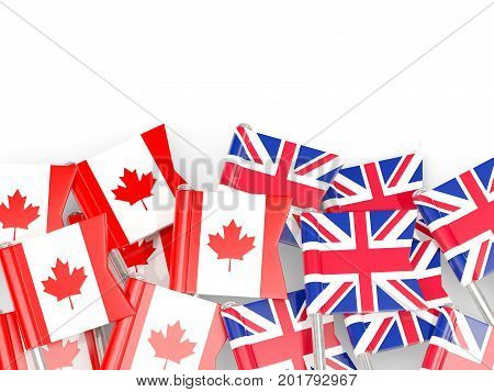 Flag Pins Of Canada And Uk Isolated On White. 3D Illustration