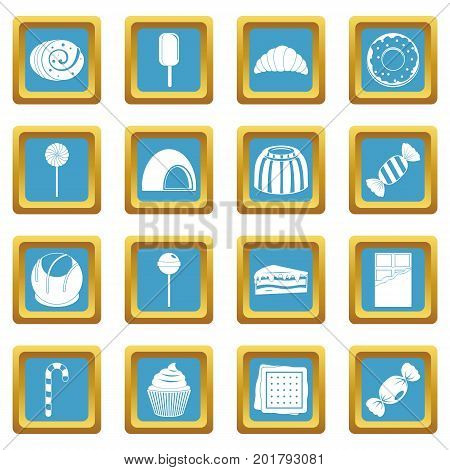 Sweets and candies icons set in azur color isolated vector illustration for web and any design