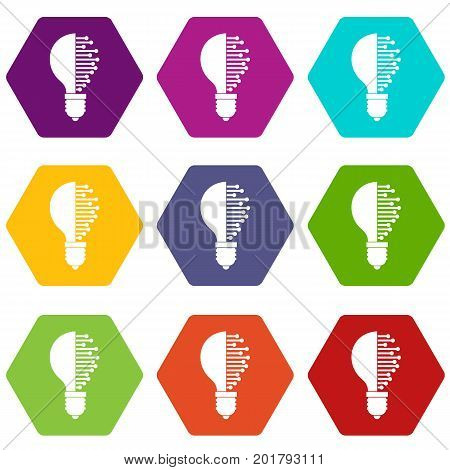 Lightbulb with microcircuit icon set many color hexahedron isolated on white vector illustration