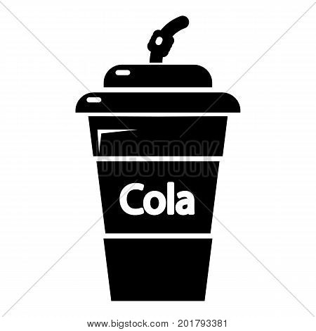 Cola plastic glass icon. Simple illustration of cola plastic glass vector icon for web