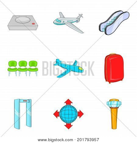 Hop icons set. Cartoon set of 9 hop vector icons for web isolated on white background