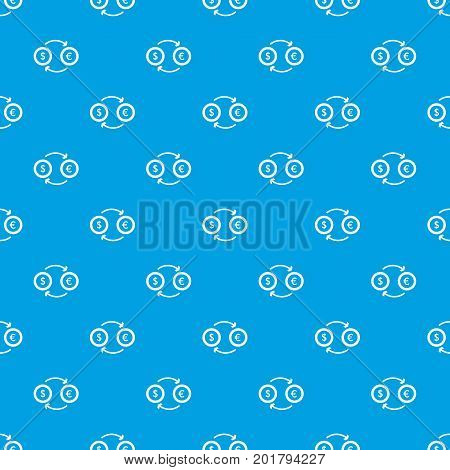 Euro dollar euro exchange pattern repeat seamless in blue color for any design. Vector geometric illustration
