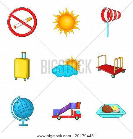 Flight icons set. Cartoon set of 9 flight vector icons for web isolated on white background