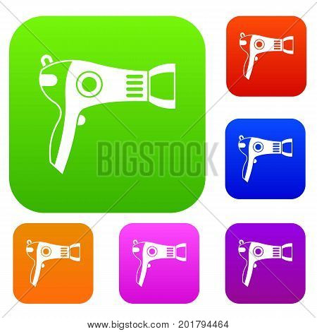Hairdryer set icon in different colors isolated vector illustration. Premium collection