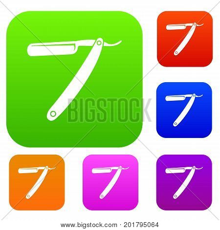 Razor blade set icon in different colors isolated vector illustration. Premium collection