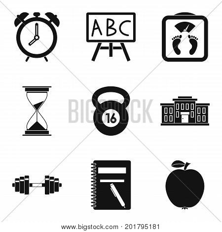Alarm clock icons set. Simple set of 9 alarm clock vector icons for web isolated on white background