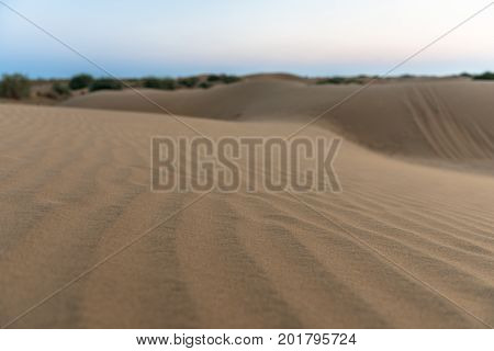 Close up picture of sand dunes in Thar Desert located close to Jaisalmer the Golden City in India.