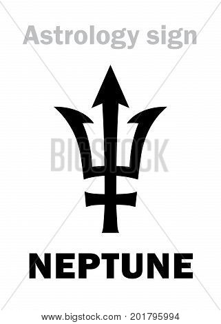Astrology Alphabet: NEPTUNE (Poseidon's trident), higher global planet. Hieroglyphics character sign (single symbol).