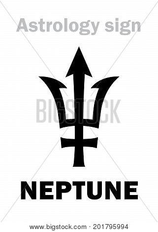 Astrology Alphabet: NEPTUNE (Poseidon's trident), higher global planet. Hieroglyphics character sign (single symbol).