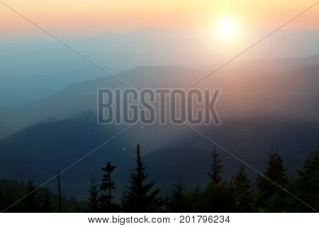mountain forest and beautiful sunset. Beauty in nature