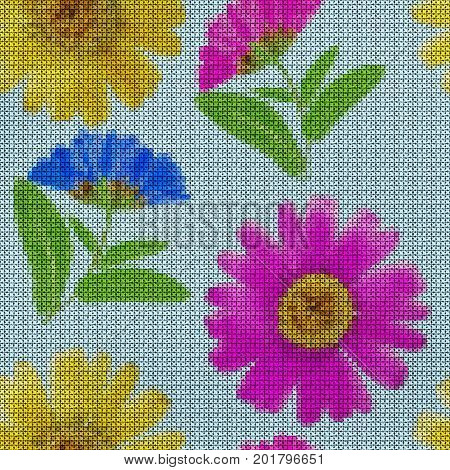 Illustration. Cross-stitch. Marigold calendula officinalis. Texture of flowers. Seamless pattern for continuous replicate. Floral background collage.