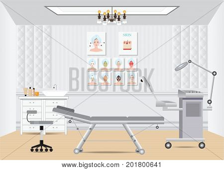 Cosmetology beauty salon isometric interior with furniture facial beds and ozone facial steamer vector illustration.