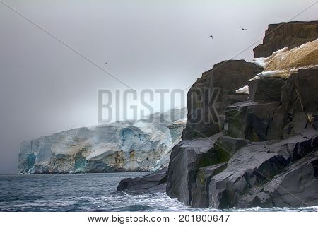 Cliffs, Glaciers And Snowfields Rudolf Island