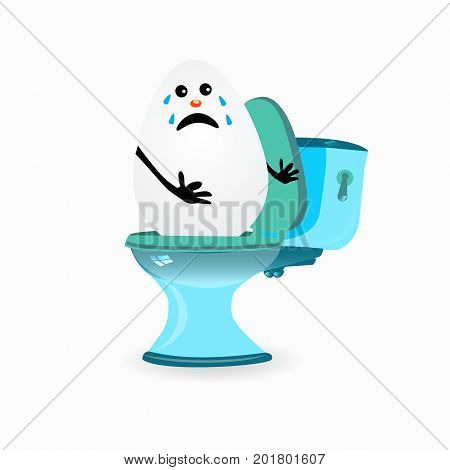 Constipation Concept. Funny Egg Cries