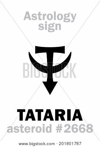 Astrology Alphabet: TATARIA, asteroid #2668. Hieroglyphics character sign (single symbol).