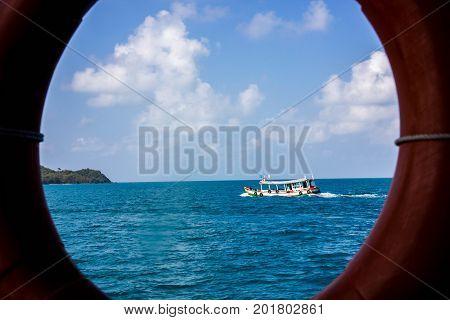The boat in circle near Samed island Thailand
