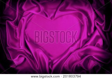 Purple Silk Folded Heart Shape, Useful For Backgrounds