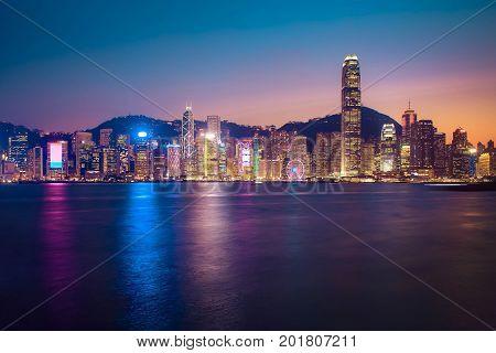 Hongkong night skyline Hong kong view from victoria harbour