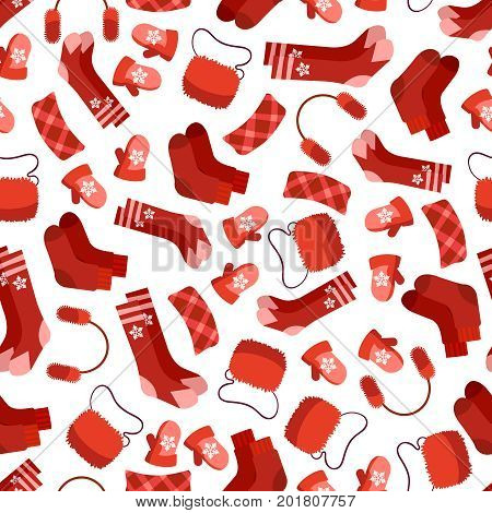 Red winter accessorises seamless pattern on white. Vector illustration