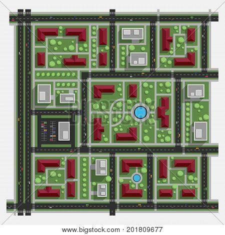 Residential area. Residential quarter. Residential district. Top view.