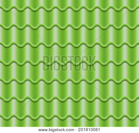 Corrugated Tile Vector. Element Of Roof. Seamless Pattern. Ceramic Tiles. Fragment Of Roof Illustration.