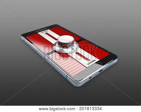 Modern Smartphone With Combination Lock Padlock. 3D Illustration.