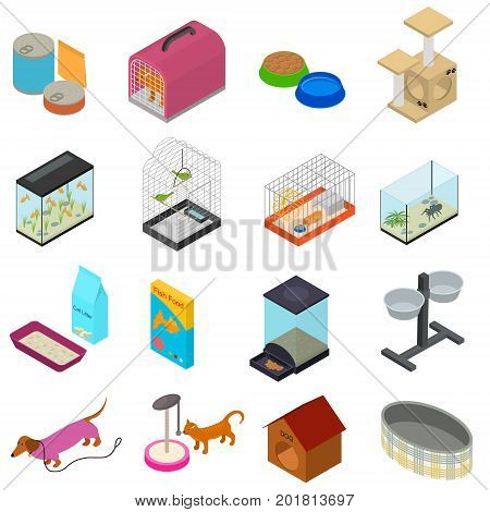 Accessories for Domestic Pets Set Care Animal Isometric View Equipment for Dog and Cat. Vector illustration for pet shop