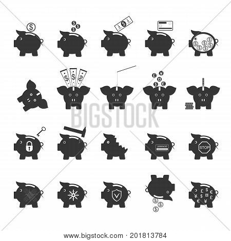 Piggy Bank Symbol of Money Finance Investment Black Icons Set Project Save Currency Concept. Vector illustration of different pigs
