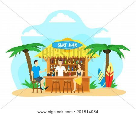 Cartoon Surf Beach Bar with Cocktail Drink and People Summer Vacation Travel Concept Flat Design Style. Vector illustration for Surfers Bars Menu