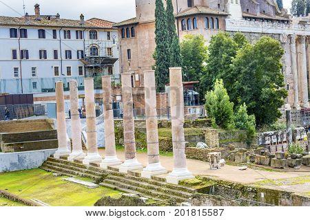 Columns Roman Forum Temples Rome Italy. Forum rebuilt by Julius Cesar in 46 BC