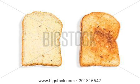Natural grains (barley buckwheat corn flaxseed millet rice rye sesame spelt sunflower triticale and wheat) sliced and toasted breads with butter isolated on white background with Clipping Paths