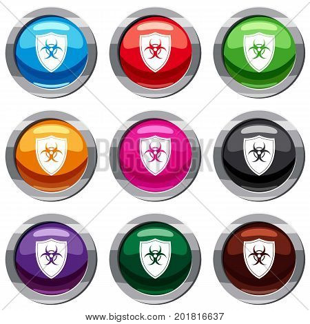 Shield with a biohazard sign set icon isolated on white. 9 icon collection vector illustration