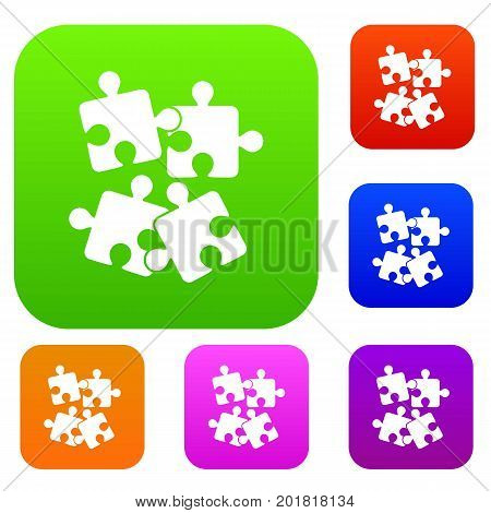 Jigsaw puzzles set icon in different colors isolated vector illustration. Premium collection