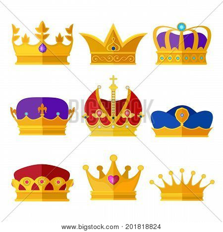 Golden crowns of kings, prince or queen. Vector illustrations set in cartoon style. Gold luxury crown for princess and royalty queen