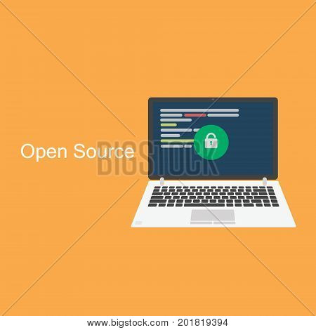 Open source concept. Laptop with programming code on orange background isolated with lettering