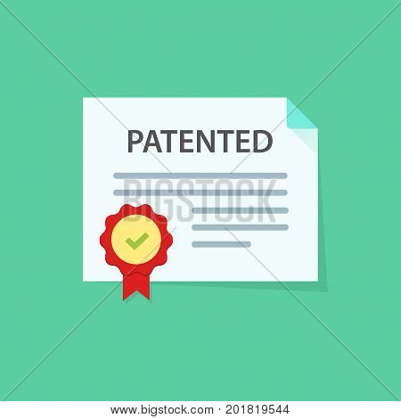 Patented document with approved stamp vector icon illustration, flat cartoon paper doc with rubber seal means registered intellectual property, idea of patent license certificate