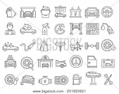 Vector mono line pictures of automobile parts. Repair car services. Repair car, diagnostics and wash automobile service illustration