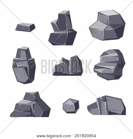Set of different cartoon-style boulders isolated on white background. Geology natural stone, nature solid block granite, vector illustration