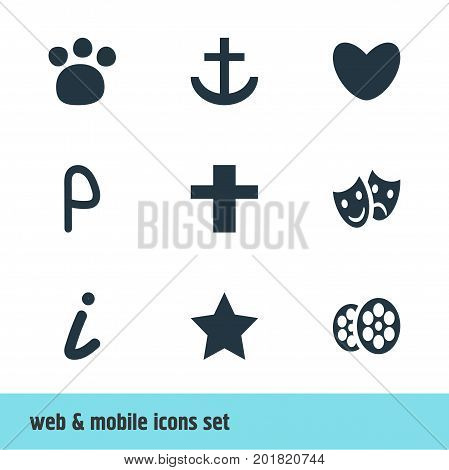 Editable Pack Of Cross, Bookmark, Pet Shop And Other Elements.  Vector Illustration Of 9 Map Icons.