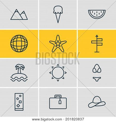 Editable Pack Of Guide, Swimwear, Earth And Other Elements.  Vector Illustration Of 12 Summer Icons.