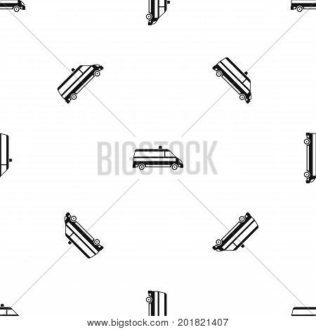 Ambulance car pattern repeat seamless in black color for any design. Vector geometric illustration