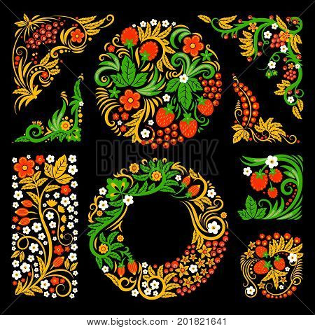 Floral decorative elements of traditional russian culture. Vector design pictures in khokhloma style. Flower floral decorative, ornament hohloma. Vector illustration