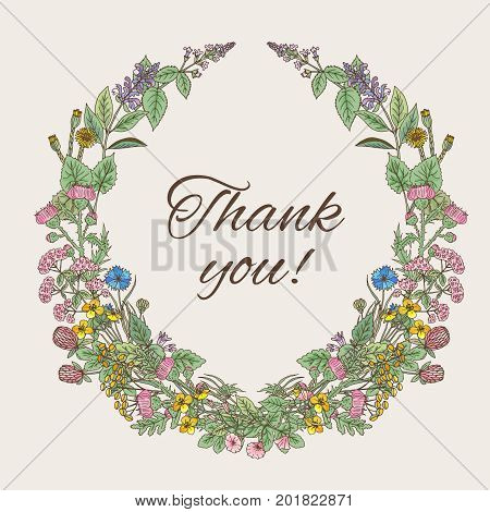 Thank you card. Inscription inside the wreath of hand drawn herbs and flowers. Wreath frame flower for invitation wedding decoration. Vector illustration