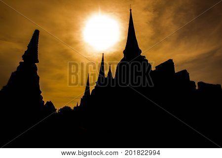 Dark pagoda in Ayutthaya Historical Park Ayutthaya Thailand