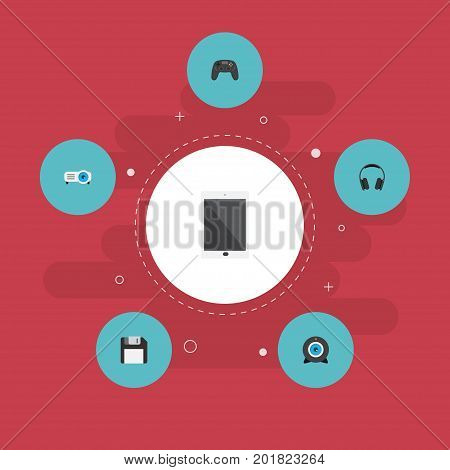Flat Icons Web Cam, Palmtop, Diskette And Other Vector Elements