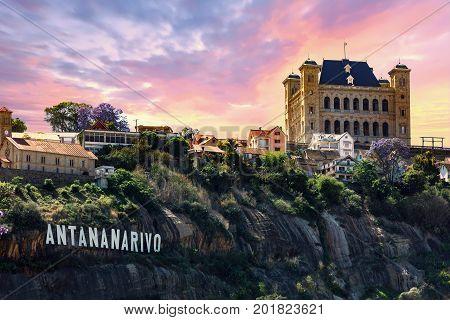 panorama of Antananarivo or Tananarive short Tana Poor capital and largest city in Madagascar Madagasikara republic. poster