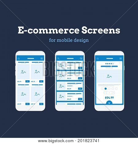 Mobile App Wireframe Ui Kit. Detailed wireframe for online shopping. Ecommerce mockup screens.