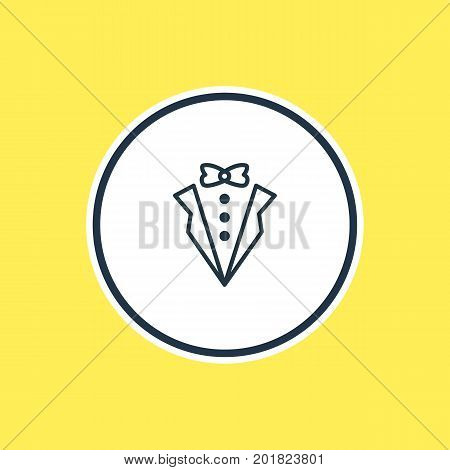 Beautiful Wedding Element Also Can Be Used As Bridegroom Dress Element.  Vector Illustration Of Groom Suit Outline.